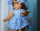 18 Inch Doll Clothes Three Piece Outfit Sleeveless Ladybug Print Seersucker Dress, Matching Panties and Floppy Brimmed Hat by SEWSWEETDAISY