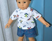 18 Inch Boy Doll Clothes Three Piece Outfit Denim Shorts, Short Sleeve Tshirt and Denim Ballcap by SEWSWEETDAISY