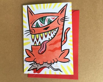 Greeting Card - Cat and Mouse (FREE DOMESTIC SHIPPING)