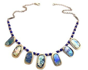 Stunning One Of A Kind  925 Silver Hand Made colorful Roman Glass Necklace with Lapis beads
