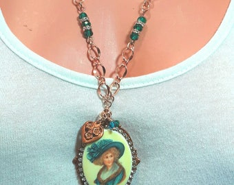 Turquoise with ginger brass necklace and earrings