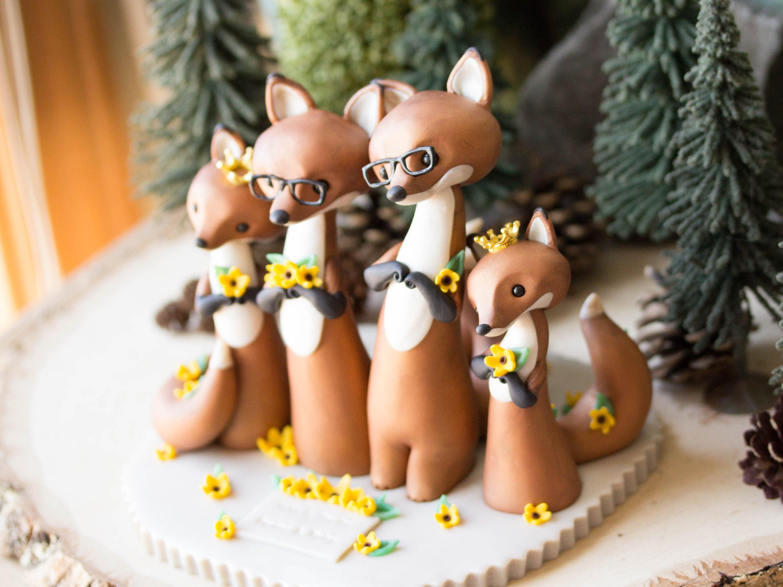 Fox Family Wedding Cake Topper