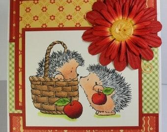 Handmade Greeting Card Apple Picking Hedgehogs