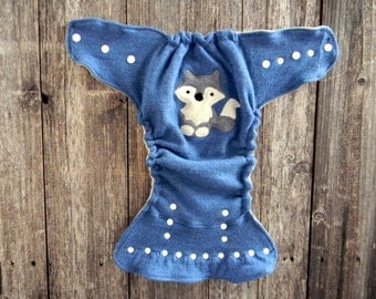 Upcycled Merino Wool Nappy Cover Diaper Wrap Cloth Diaper Cover One Size Fits Most Blue With Wolf Applique/ Oatmeal
