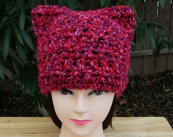 Pussy Cat Hat with Ears, Dark Pink Purple Red, Chunky Warm Soft Acrylic Crochet Knit Winter Beanie Women's PussyHat, Ready to Ship in 2 Days