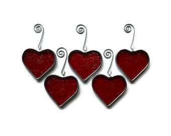 Stained Glass Red Hearts - Set of 5 Suncatchers Holiday Ornaments