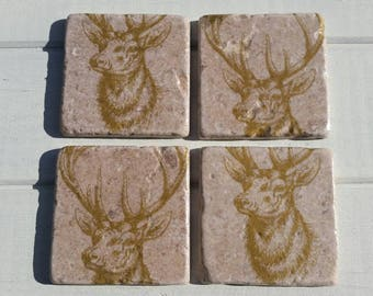 Stag Deer Coaster Set of 4 Tea Coffee Beer Coasters