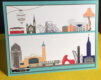 Cleveland icons blank card, trolley, Guardians of Traffic, Progressive Field, West Side Market, Playhouse Square Chandelier