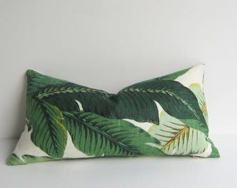 Linen Palm Pillow Cover - 12 x 22 inch - Lumbar - Tropical - swaying palms - Palm fronds - Leaves- Nature - modern resort - ready to ship
