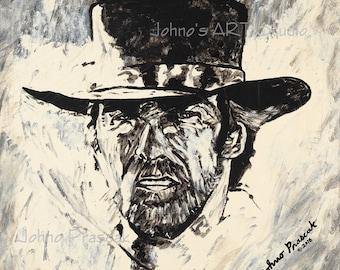 Cowboy wall art, Wild West art, Clint art, portrait art,metal prints, Johno Prascak, Johnos Art Studio