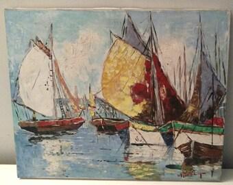 Modern Sailboat Oil Painting Mid Century Art