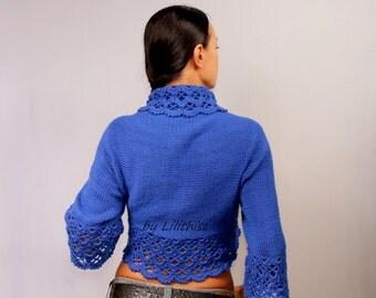 Cobalt Blue Bolero Jacket, Crochet Bolero, Lace Bolero, Crochet Shrug, Lace Shrug, Wedding Bridal Bolero, Knit Bolero, Sweater Cardigan