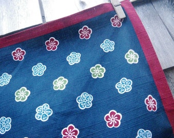 Japanese Plum Blossom Furoshiki Gift Wrapping Cloth Tough Cotton Weave Navy Blue