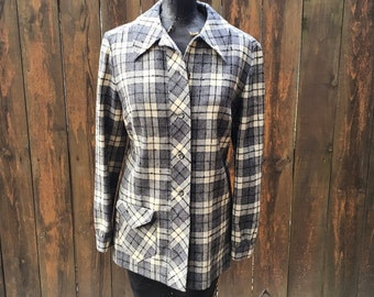 60s Vintage Black Charcoal Gray Ivory Pendleton Jacket  small medium