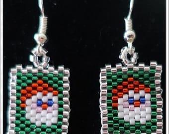 Peyote Beaded Santa Pierced Earrings, Christmas Jewelry,  Pattern is by BeadCrumbs