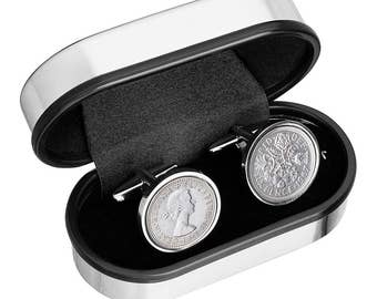 Wedding Cufflinks  'Something borrowed... and a silver sixpence in the shoe' 100% satisfaction