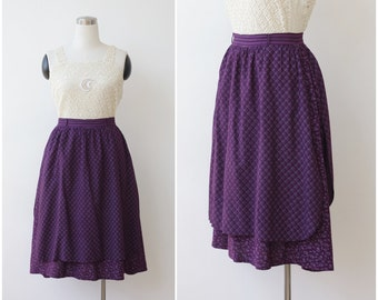 Vintage Prairie Skirt, Layered Purple Skirt S M,  Bandana Floral Boho Skirt Small Medium, Cottage Chic Flower Cotton Skirt