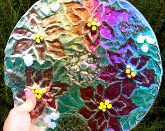 Fused Glass Poinsettina Iridized Decorative Plate