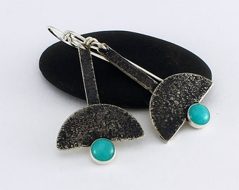 Handcrafted Sterling Silver & Amazonite Dangle Earrings Silverdust Texture With Patina Contemporary Artisan Jewelry Design 16476258102816