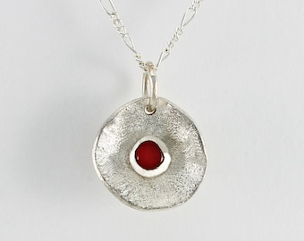 Handcrafted Sterling Silver & Carnelian Stylized Poppy Flower Petite Pendant Natural Stone Contemporary Artisan Jewelry 23856324112616