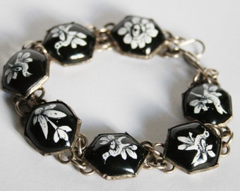 Vintage bird bracelet. Black and white bracelet. Bird and flower bracelet