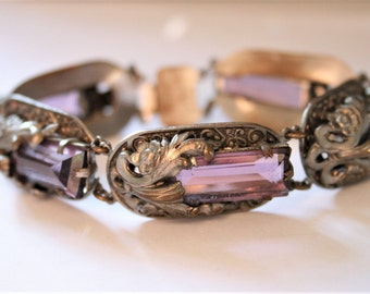 Vintage Art Nouveau bracelet.  Purple glass bracelet