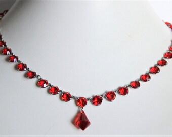 Vintage red open back crystal necklace. Red droplet necklace