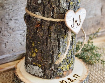 Wood CANDLE HOLDER - Wedding Table Centerpiece - Rustic Country Wedding - Brown - White Birch Heart