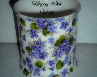 BN Personalised Vintage Violets  Floral Chintz Fine Bone China Tankard,