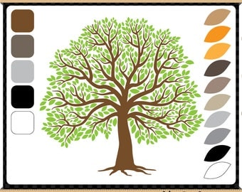 The Big Tree Creative Pack - Digital Clip Art - 5 Tree Trunks and 10 Separate Leaves