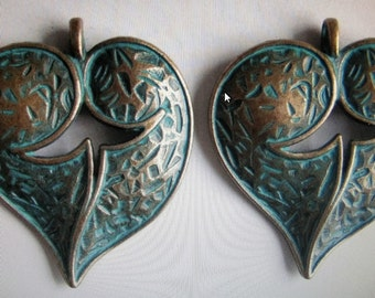 Greek bronze verdigris hearts