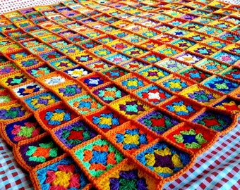 In STOCK Bright Orange Crochet Blanket Granny Squares Afghan Ultra Colorful