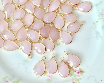 Pink Glass Teardrop Pendants Charms, Imitation Jade, Brass, 18mm x 10.5mm, 2mm Hole, 4 pieces (Su5)