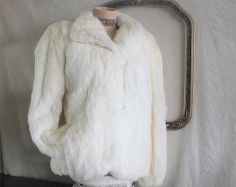 SALE 25% off  -   was 128.00 Vintage Soft White Rabbit Fur Coat Jacket Women's Size S - M