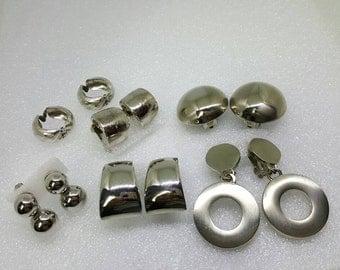 Silvers Clip Earrings Retro lot AA 6 pair
