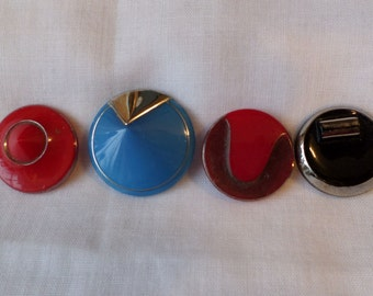 Art Deco Glass Buttons 4 Pieces Color Red Blue Black & Silver Pointed Top Cones