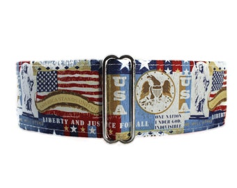 American Flag Martingale Dog Collar, 4th of July Martingale Collar, Stars and Stripes Martingale Collar, Red White Blue, Greyhound Collar