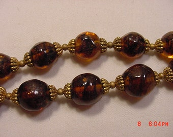 Vintage 2 Strand / Tier  Amber Glass Bead Adjustable Necklace   16 - 791
