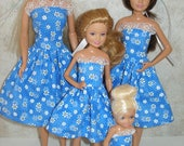 """Handmade 11.5"""" fashion doll and sisters clothes - 4 fashion doll sisters blue and white floral dresses"""