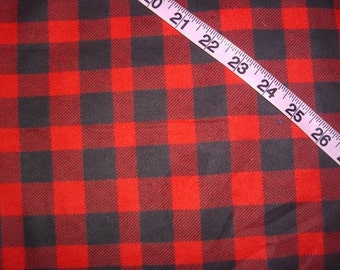 Flannel fabric with plaid lumberjack red and black check quilt cotton quilting sewing material by the yard Bty crafts clothes