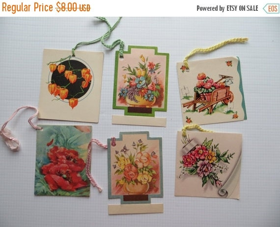 ON SALE Vintage Tallys-Tallies-Ephemera-Games-Playing Cards-Floral-Unused