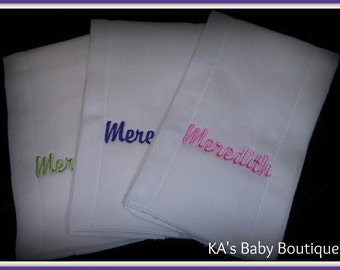 New embroidered Baby infant personalized burp cloths 4.99+ shower gift