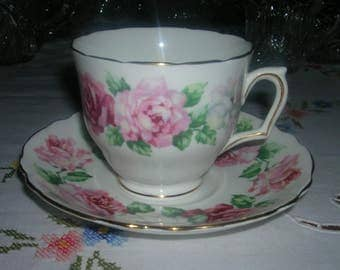 Vintage Fine Bone China Crown Staffordshire England Cup and Saucer Set Roses Flower Pattern
