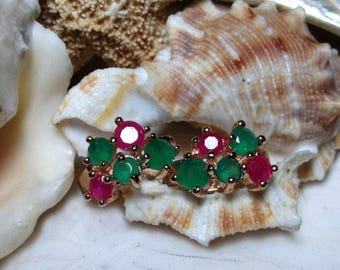 9k Yellow Gold Ruby and Emerald Huggy Hoop Earrings 2.85g