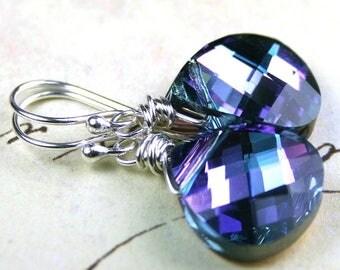 ON SALE Aqua Blue And Purple Crystal Earrings - Bridesmaid Earrings - Briolette Earrings - Swarovski Crystal And Sterling Silver