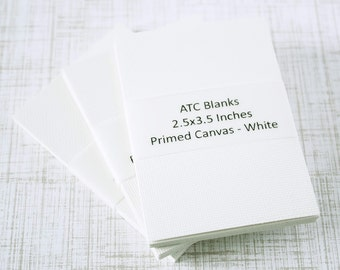 ATC Blanks ACEO Blanks Primed White Canvas Artist Trading Card Supplies ACEO Supplies Altered Art Mixed Media Scrapbooking 15 count