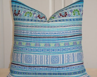 VINTAGE Hmong Pillow Cover - Tribal Decorative Pillow Cover - Cross Stitches Embroidery - Accent Pillow - Toss Pillow