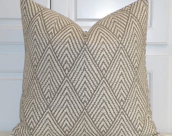 BOTH SIDES - Decorative Pillow Cover - Brown - Taupe -  Sofa Pillow - Trellis Pillow - Lattice - Geometric - Tahitian Stitch