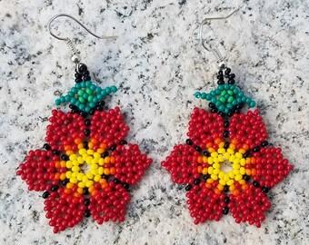 Handmade Rosie Red Floral Flower Petal Beaded Earrings