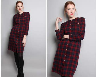 1980's Plaid Dress / Gold Button Down Dress / Long Sleeves / Fitted 80's Dress / Medium